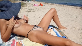 Real amateur wife flashing pussy in public beach